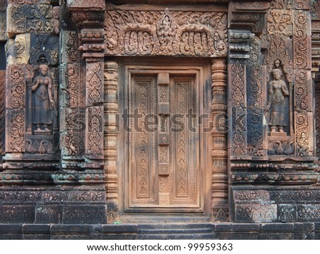 SIEM REAP-MARCH 22: Banteay Srei facade on March 22, 2012 in Siem Reap,Cambodia.Banteay Srei is a 10th century Cambodian temple dedicated to the Hindu god Shiva.