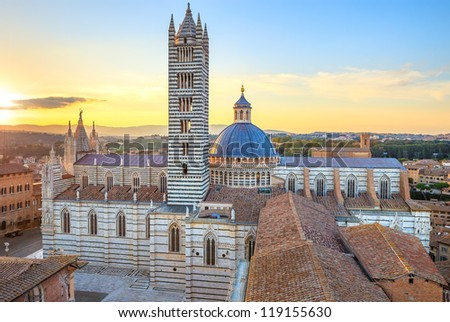 Siena aerial sunset panoramic view. Cathedral Duomo landmark. Tuscany, Italy. - stock photo