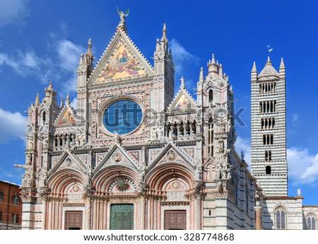 Siena Cathedral, Duomo di Siena in Siena, Italy, Tuscany region. Historic medieval church - stock photo