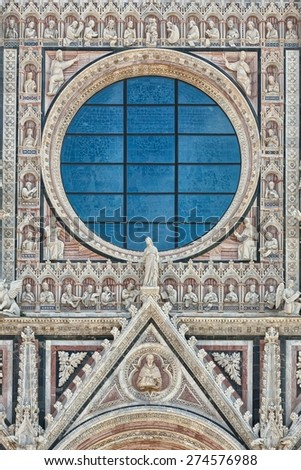 Siena Cathedral glass wall detail in Tuscany, Italy - stock photo