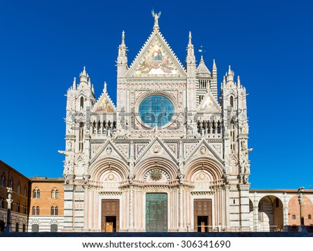 Siena cathedral in a sunny summer day, Tuscany, Italy, Europe. - stock photo