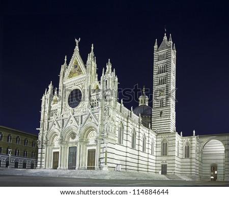 Siena Cathedral landmark as known as Duomo, night photography. Tuscany, Italy, Europe. - stock photo
