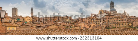 Siena Cathedral, Palazzo Pubblico and cityscape at sunset, Tuscany Italy - stock photo