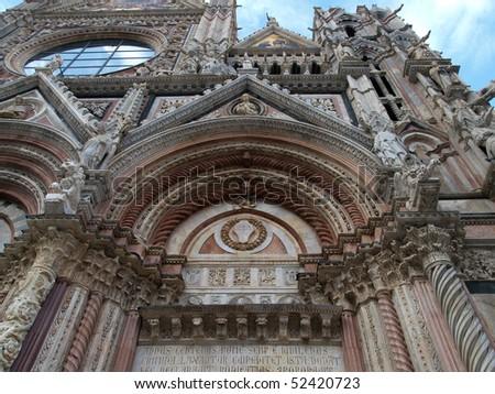Siena - Duomo, Details of the western facade - stock photo