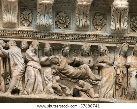 Siena - Duomo. Relief from the western facade - stock photo