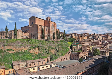 Siena in Tuscany, Italy: medieval church Basilica of San Domenico on the hill above the ancient source Fontebranda in the old town