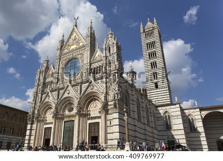SIENA, ITALY - APRIL 12: cathedral of Siena, Duomo di Santa Maria Assunta, wide-angle view on April 12, 2015