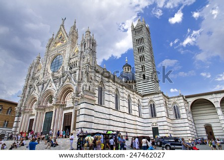 SIENA, ITALY, August 5, 2011: Siena Cathedral, dedicated to the Assumption of the Blessed Virgin Mary. Siena. Italy