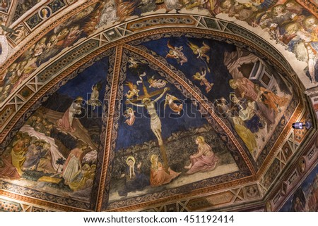 SIENA, ITALY, JUNE 12, 2016 : interiors and detais of the Battistero di san giovanni , Siena cathedral, june 12, 2016 in Siena, Italy
