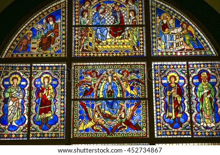 SIENA, ITALY, JUNE 12, 2016 : window  details of the duomo, Siena cathedral, june 12, 2016 in Siena, Italy