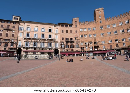 Siena, Italy - March 14, 2017: Campo Square, UNESCO World Heritage Site
