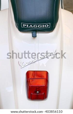 SIENA, ITALY - MARCH 12, 2014: Old Vespa 50 Piaggio, detail, Siena - Italy. - stock photo