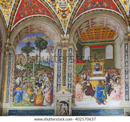 SIENA, ITALY - MARCH 12, 2014: Pinturicchio's frescoes in the Piccolomini Library of Siena Cathedral