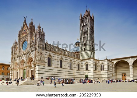 SIENA, ITALY - MAY 11, 2014: The Duomo Cathedral in Siena, Italy on May 11, 2014 - stock photo