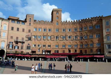 Siena, Italy - September 8, 2016: Piazza del Campo square in medieval Siena city in Tuscany, Italy. Unidentified people visible.