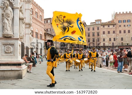 Siena, Italy - September 16 2007: The Palio, standard bearers of the Aquila (Eagle) contrada, Siena, Tuscany, Italy, Europe.