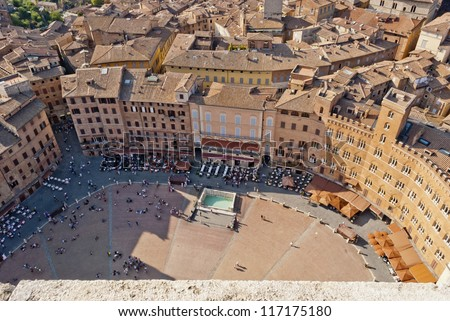 Siena, Piazza del Campo detail, Tuscany, Italy - stock photo