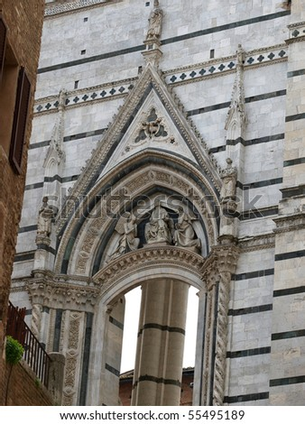 Siena - side wall unfinished Duomo Nuovo - stock photo