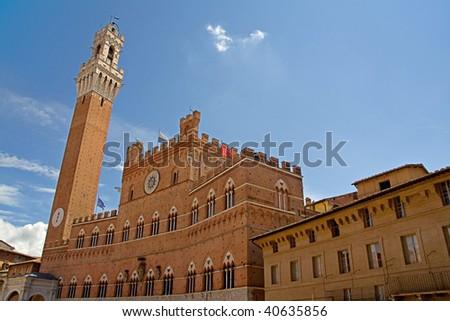 Siena tower, Palazzo Pubblico, Italy - stock photo