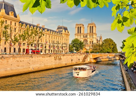 Siene river and Notre Dame de Paris in Paris, France - stock photo