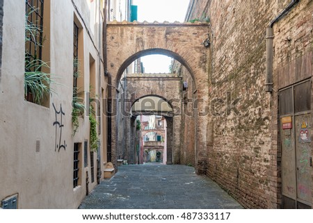 SIENNA, TUSCANY - SEPTEMBER 17, 2016 -   view view of the city of Siena with the alleys and the white marble dome and the red brick tower
