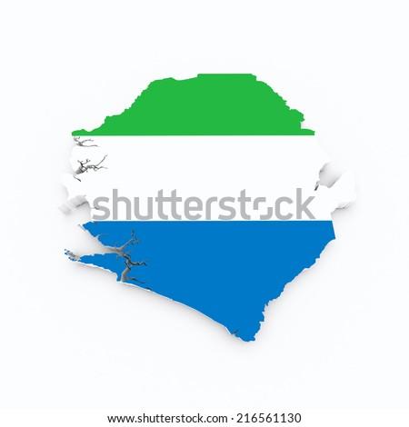 Siera Leone flag on 3d map - stock photo