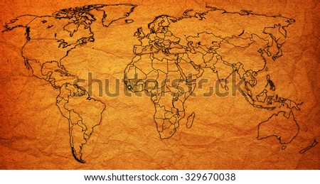 sierra leone flag on old vintage world map with national borders - stock photo