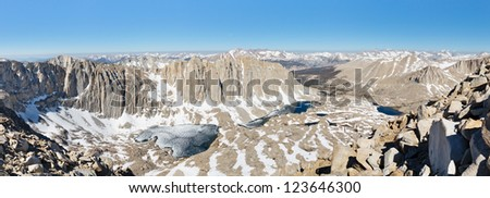 Sierra Nevada Panorama - Endless snow covered granite peaks viewed from Mount Whitney. - stock photo