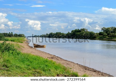 Sievers channel - fairway in Veliky Novgorod region in summer sunny day - stock photo