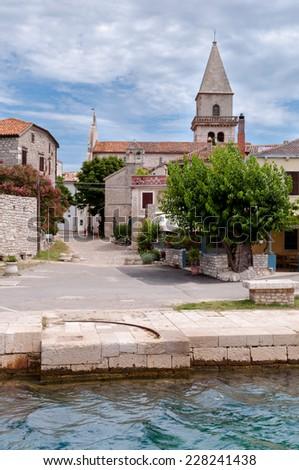 Sight of Osor town in Cres islan - Croatia Vertical - stock photo