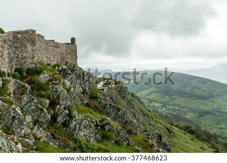 sight of the castle of the medieval town of Marvao, Portugal