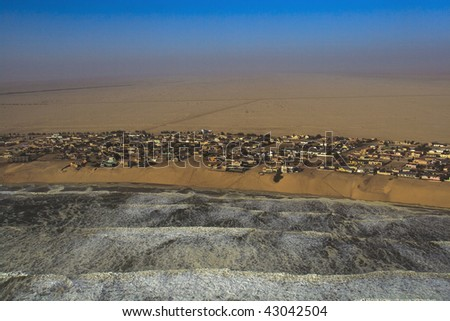 Sight seeing flight going North of Swakopmund along the Skeleton Coast Namibia - stock photo