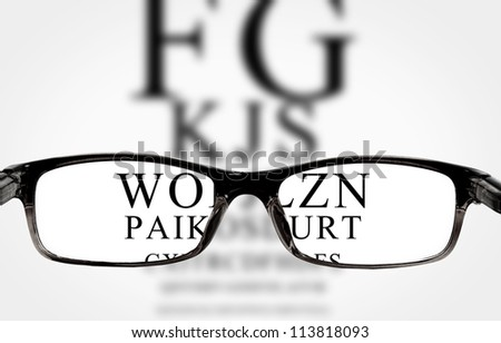 Sight test seen through eye glasses, white background isolated