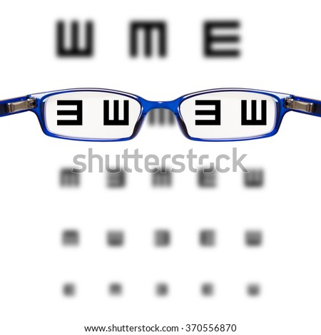 sight test seen through eye glasses - white background isolated - stock photo