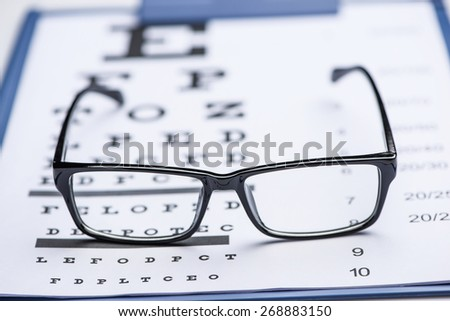 Sight test seen through eye glasses, white background isolated. Focus on eye glasses