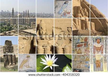 Sights of Egypt in several shots of a collage. - stock photo