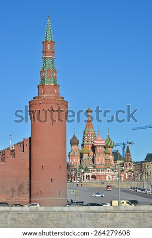 Sights of Moscow, photographed clear February morning. Domes of St. Basil's Cathedral on Red square in Moscow. - stock photo
