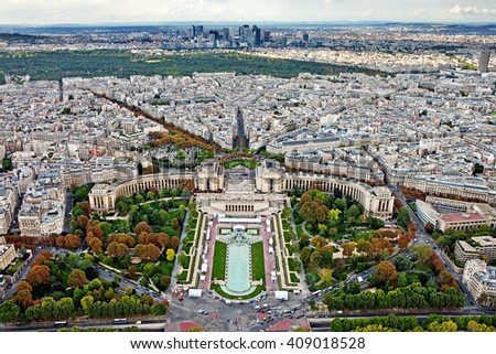 Sightseeing panorama of Paris from the top Eiffel Tower, France. - stock photo