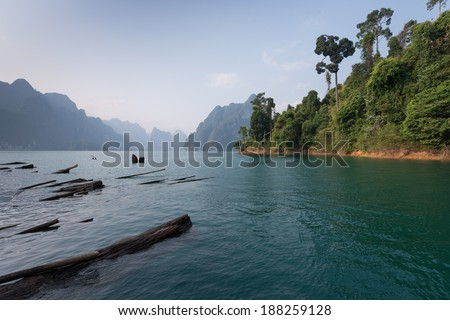 Sightseeing view at Rachapapha dam. Khao Sok National Park. Thailand.