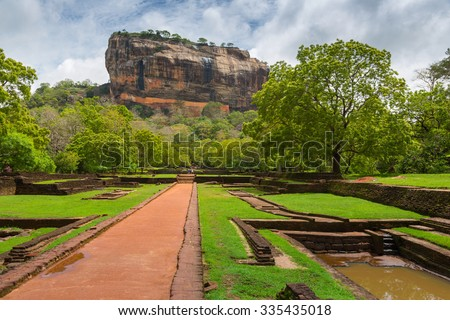 Sigiriya Lion Rock Fortress in Sri Lanka - stock photo