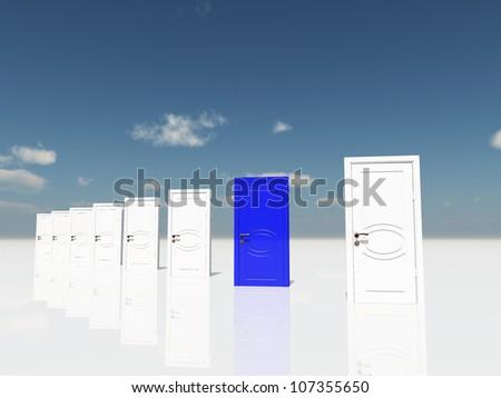 Sigle blue door in surreal landscape - stock photo