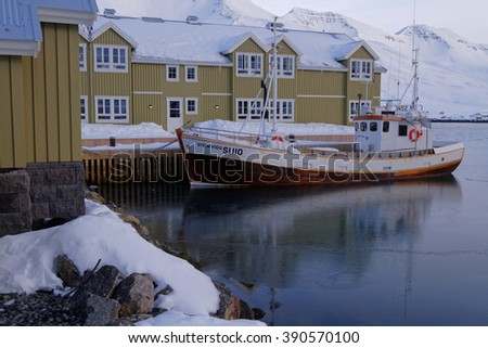 SIGLUFORDUR, ICELAND, February 28, 2016 : Siglufjodur is one of the most isolated northern town of Iceland. The popular television series Trapped was filmed in the town.