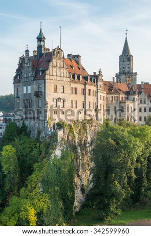 Sigmaringen, Germany - October 2, 2013: Sigmaringen Castle was the princely castle and seat of government for the Princes of Hohenzollern-Sigmaringen. HDR Style