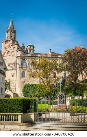 Sigmaringen, Germany - October 2, 2013: View of the Karl Anton Square in Sigmaringen and the statue of Prince Karl Anton of Hohenzollern-Sigmaringen