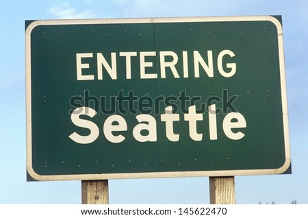 Sign at entrance to Seattle, WA - stock photo