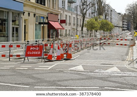 Sign at Street Closed for Road Construction Work - stock photo