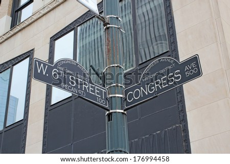 Sign at the intersection of West 6th Street (Pecan Street) and Congress Avenue in the Congress Avenue historic district at the bustling center of Austin, Texas - stock photo