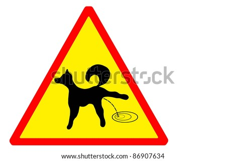 Sign attention to the dogs peeing - stock photo