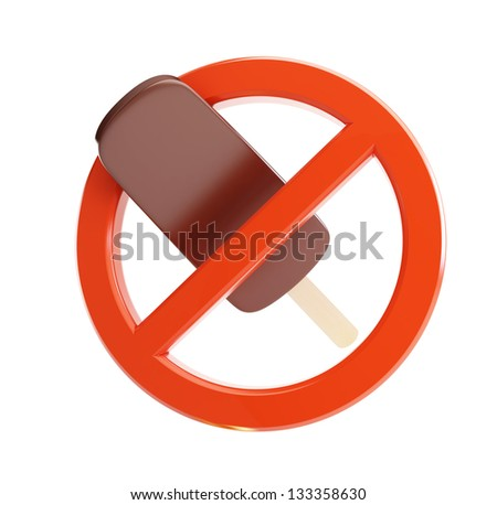 sign ban on ice cream 3d Illustrations on a white background - stock photo