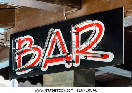 Sign bar. Photo Close-up - stock photo